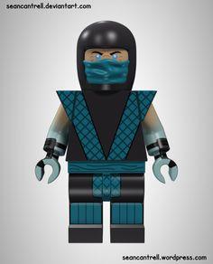 Lego Minifigure - Ermac by seancantrell on deviantART Lego Minifigure Display, Lego Custom Minifigures, Lego Minifigs, Legos, Lego Submarine, Lego Figures, Action Figures, Classic Lego, Mortal Kombat Art
