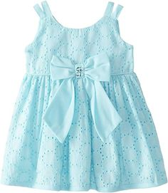 Youngland Baby Girls' Eyelet Dress with Bow, Turquoise, 12 Months Baby Girl Frocks, Frocks For Girls, Toddler Girl Dresses, Little Girl Dresses, Baby Girl Dress Design, Girls Frock Design, Baby Frocks Designs, Kids Frocks Design, Girls Bridesmaid Dresses