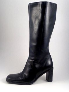 "Naturalizer black leather boots - womens size 8.5W - wide width. Wide shaft for larger calf sizes. Fits calves 17"" around. Also has elastic inserts at top for a little more give. The zipper is solid. 