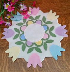 Pastel Tulips Wool Applique Penny Rug Pattern