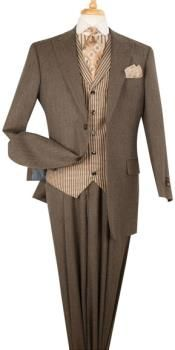 Apollo King Pinstripe 3 Piece Lapelled Vest Wool Brown Fashion Suit - love the style/debs Dress Suits For Men, Suit And Tie, Men Dress, Sharp Dressed Man, Well Dressed Men, Mens Fashion Suits, Mens Suits, Brown Suits, Grey Suits