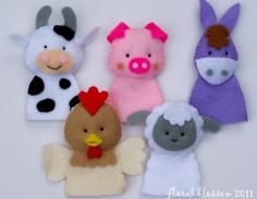 Digital Pattern: Farm Friends Felt Finger Puppets by FloralBlossom Felt Puppets, Felt Finger Puppets, Hand Puppets, Felt Diy, Felt Crafts, Operation Christmas Child, Felt Patterns, Pdf Patterns, Animal Patterns