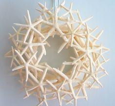 Beach Decor White Starfish Seashell Wreath - Shell Wreath for Nautical Decor