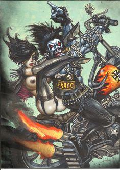 LOBO BY SIMON BISLEY ORIGINAL ART . Lobo on a motorcycle with sexy Bikergirl by Simon Bisley Comic Art
