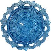 Antique EAPG 1886 Belmont Glass work #100 Blue Bowl