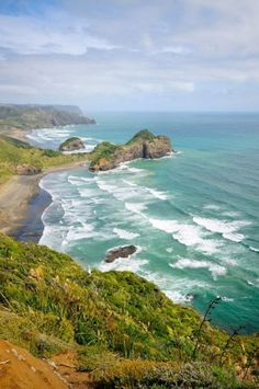 View of Bethells Beach in New Zealand. This gem is located 30 minuts outside of Auckland and is offers everything from hiking and swimming to photography and surfing. The best part is, it is little known amongst the tourist crowds   Picfari.com