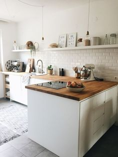 Nice kitchen with open shelves. Complete your kitchen with the VIGO Gra … - White Kitchen Remodel Home Decor Kitchen, New Kitchen, Home Kitchens, Kitchen Dining, Kitchen White, Decorating Kitchen, Kitchen Pans, German Kitchen, Japanese Kitchen
