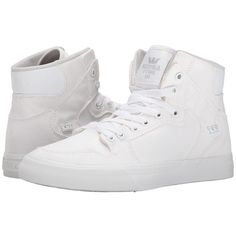 Supra Vaider D (Off White Canvas) Women's Skate Shoes ($68) ❤ liked on Polyvore featuring shoes, hi top skate shoes, lightweight shoes, hi tops, high top skate shoes and breathable shoes