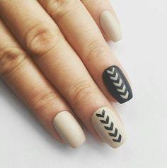 Black and nude nail art