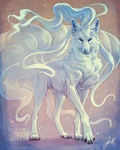 Wolf Zeichnung - Comic/ Zeichnung - Home Mystical Animals, Mythical Creatures Art, Fantasy Creatures, Mystical Creatures Drawings, Pet Anime, Anime Animals, Anime Art, Anime Wolf Drawing, Drawing Drawing