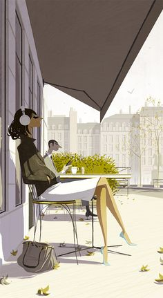Une Parisienne au café by Matthieu FORICHON