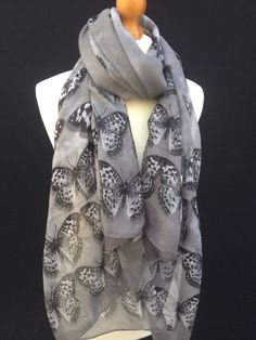 BEAUTIFUL BLACK GREY WHITE BUTTERFLY PRINT LADIES SCARF WRAP PASHMINA GIFT