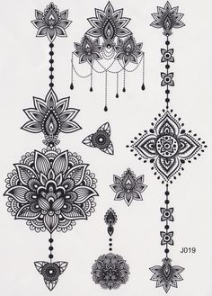 Black and White Assorted Lotus Temporary Tattoo Sheet, Mandala Tattoo, Temporary Tattoo Mandala, Lotus Tattoo, Aztec Tattoo, Tribal, Black and White, Henna Art, Maori Art, Polynesian More