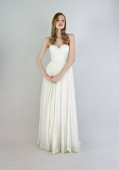 Lace and chiffon strapless gown Samantha by Leanimal on Etsy