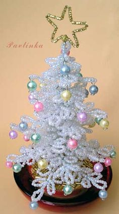 Beaded Christmas tree tutorial - slightly altered in green - could be like the old MiniTree from Michael's