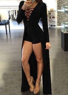 7ad398e4842a Adogirl Split Women Jumpsuit Lace Up V Neck Bandage Bodysuit Cotton Fashion  Long Sleeve Hollow Out Maxi Overlay Romper Black Red
