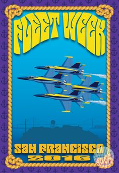 Psychedelic Fleet Week San Francisco 2016 featuring the Golden Gate Bridge, Alcatraz and the incredible U. Navy Blue Angels soaring over the San Francisco Bay! Print styled like the famous San Fran Fleet Week San Francisco, Living In San Francisco, San Francisco City, San Francisco Travel, Cool Posters, Travel Posters, Redwood City California, Beautiful Posters, Blue Angels