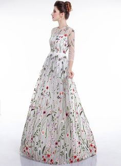 27d9f46434d White Tulle Colorful Floral Embroidery Whimsical Maxi Evening Dress with  Sheer 3 4 Sleeves