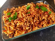 Lamb yiouvetsi or youvetsi - a Greek one pot lamb and orzo bake My Recipes, Recipies, Cooking Recipes, Orzo, Savoury Dishes, Mediterranean Recipes, One Pot Meals, Fried Rice, Entrees