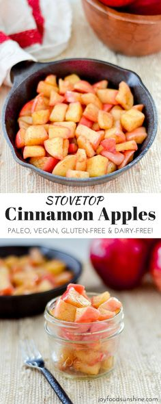 These Stovetop Cinnamon apples taste like a warm apple pie, but they come together in a fraction of the time and are SO much healthier! This recipe is gluten-free, dairy-free, refined sugar free, vegan AND paleo! Perfect for breakfast, a snack, or dessert!