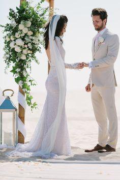 Beach Wedding Ceremony   Bride in Inbal Dror Wedding Dress   Groom in Beige Suit   Jade Osborne Photography   The Amazing Rabbit Films