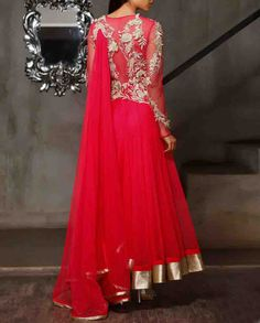 Hot Pink Anarkali Suit with Floral Metallic Applique Available At www.ladyselection.com