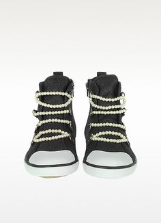 Moschino Love Moschino - Black cannvas Sneaker with Pearl Detail | FORZIERI