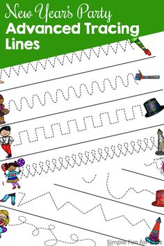 Practice advanced prewriting skills with these fun printable New Year's Party Advanced Tracing Lines! No prep needed, great for preschoolers and kindergarteners. Fun Activities For Preschoolers, Fine Motor Activities For Kids, New Years Activities, Printable Activities For Kids, Infant Activities, Writing Activities, Preschool Kindergarten, Preschool Activities, Prewriting Skills