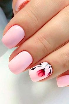 Light Pink Nail With Flowers #flowersnails #shortnails ★ Who doesn't love pink nails? We have picked some nail designs in pink shades that look simply adorable. Check them out here. #glaminati #lifestyle #pinknails