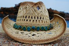 GORGEOUS Straw Cowgirl Hat with Rosette and Turquoise by puapapale, $42.00
