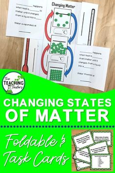 Use this changing states of matter foldable in interactive notebooks, interactive poster or anchor cart. Gives examples and uses simple language. Use this printable notes with your science lesson on solid, liquid, and gas particles. The task cards help as Science Vocabulary, Science Curriculum, Science Lessons, Teaching Science, Science Activities, Teaching Tips, 6th Grade Science, Science Student, Elementary Science