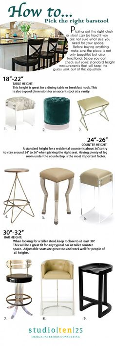 bar stool height tips: need to know info listed in pin (link bad).
