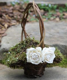 Flower Girl Basket Lined With Moss And Fresh Water Pearls, Roses Rustic, Shabby Chic, Weddings