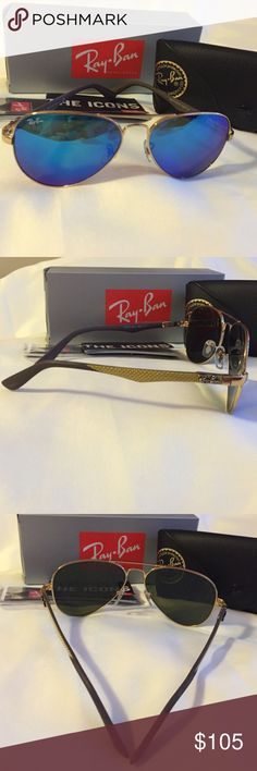 Ray Ban Carbon Fibre Authentic and brand new Carbon Fibre. Model: RB8395 001/81 58 14. Frame color: Gold, brown. Lenses: Blue gradient. Size lens: 58 14. Temple length: 140. It comes with black case, cleaning cloth, Icons booklet, and info booklet. Ray-Ban Accessories Sunglasses