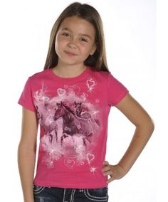 Rock & Roll Lil' Cowgirl Pink Running Horses T-Shirt