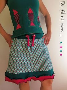Du fil et mon...: Jupe Jersey Rock Diy Clothing, Clothing Patterns, Diy Jupe, Diy Maxi Skirt, Handmade Skirts, Altered Couture, Couture Sewing, Vestidos Vintage, Cycling Outfit