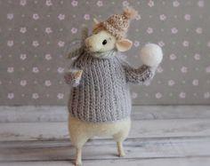 Nadel Gefilzte Tier, Weihnachts-Maus, Maus mit Snowball, Kunst-Puppe, Waldorf-Tier, Eco-Spielzeug