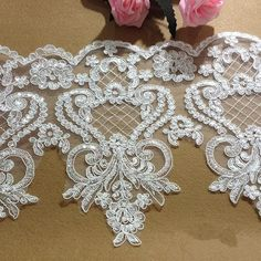 Beaded Trim, Lace Trim, Beaded Lace, Diy Wedding Veil, Veil Diy, Ribbon Wedding, Wedding Lace, Wedding Attire, Dress Wedding