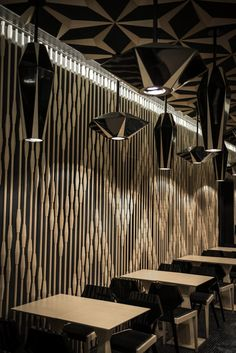 Ore-no Kappou Designed by Hiroshi Kanazawa New California Tower in Lan Kwai Fong,Central,Hongkong Japanese Restaurant Ceiling Detail, Ceiling Design, Wall Design, Design Design, Restaurant Interior Design, Retail Interior, Restaurant Interiors, Kanazawa, Inspiration Design