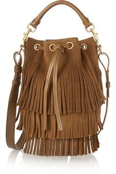Saint Laurent|Emmanuelle small fringed suede bucket bag|NET-A-PORTER.COM