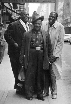 Blues greats Willie Dixon, Big Joe Williams and Memphis Slim on a Chicago street, mid 50's...