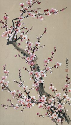 cherry blossom in chinese painting Art Floral, Wallpaper Flower, Cherry Blossom Painting, Cherry Blossom Tattoos, Cherry Blossom Wallpaper, Art Chinois, Red Plum, Art Asiatique, Blossom Trees