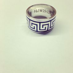 Greek silver and blue men's wedding band by Minette Arlow Jewellery