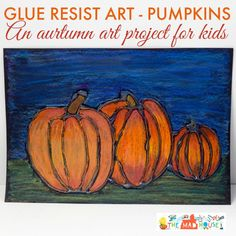 fall art projects for kids This Glue resist art project for kids is perfect for autumn and fall. The pumpkins look amazing and it is so simple to do. Glue Gun Projects, Fall Art Projects, Classroom Art Projects, Art Classroom, Projects For Kids, Preschool Projects, Class Projects, Art Lessons For Kids, Art For Kids