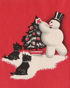 vintage Scottish terriers Christmas card