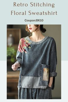 Fashion Sewing, Kimono Fashion, Unique Outfits, Cool Outfits, Sweatshirt Refashion, Altered Couture, Mode Chic, Altering Clothes, Sewing Clothes