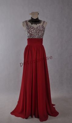 Red Beaded Long Prom Dresses with Peacock by petorhouse on Etsy