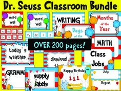 Classroom Bundle- Dr. Seuss Theme ~Included~*Dr. Seuss Alphabet comes with out without Dr. Seuss clipart. With each letter of the alphabet, three pictures on a 2.5 inch circle is included.*Library Labels- Dr. Seuss Colors sorted by authors, guided reading levels A-Z, genre, and favorite topics.