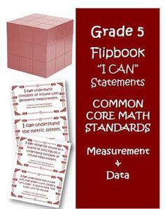 Fifth Grade Math Common Core Measurement and Data I Can Cards. This is a great resource for any fifth grade teacher! $