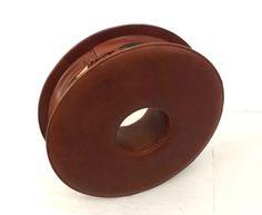 80s-Vintage-Designer-Tasche-geometrisch-Leder-Kreis-Blogger-Armreif-Clutch-rund